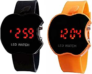 Swissrock Black and Orange Combo Apple Shape Kids Digital LED Wrist Watch