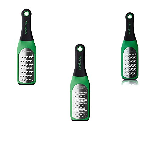 Microplane Artisian Greater Set of Ribbon Grater, Extra Coarse Grater and Coarse Grater, (Microplane Green)