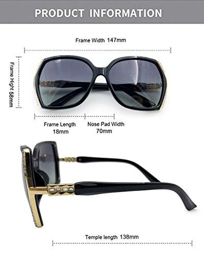 Wear para con negro de Gafas imitación Elegante lentes sol diamantes azul Negro diseñador Eye marco con de de tamaño gran para mujer moda marca de damas grande estuche wqTx0g4Uq