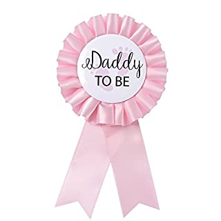 """""""Daddy to Be"""" Tinplate Badge Pin - Baby Shower Button New Dad Gifts Gender Reveals Party Baby Girl Pink Rosette Button Baby Celebration (Light Pink)"""