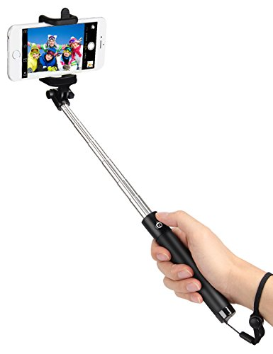 kungfuren Selfie Stick Bluetooth, 50-Hour Long Battery Life and Japanese Seiko PCB Protection, Built-in Remote Camera Shutter for Selfie Stick iPhone 7 Plus All iOS and Android Smart Phones BLACK