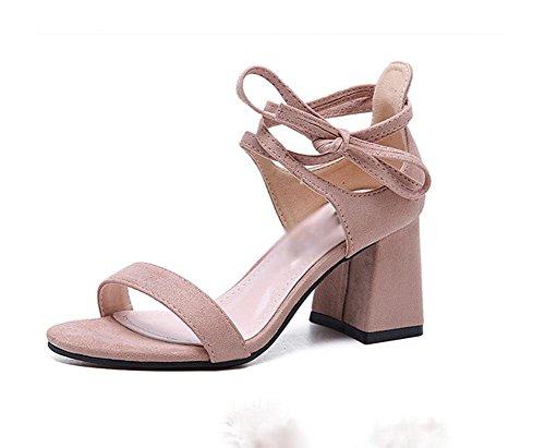 zapatos de gamuza con tacones gruesos redonda hueca sandalias abiertas Sra. Pink