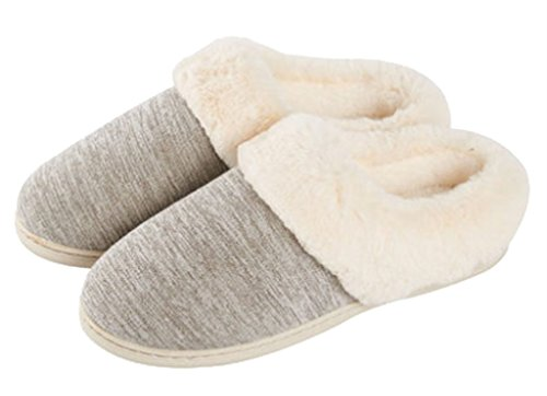 Cattior Mens Winter Warm Indoor Outdoor Slippers Fluffy Slippers Grigio 3