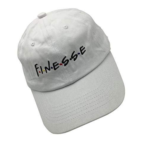 liujiangtao Dad Hat Finesse Friends Letters Embroidered Baseball Cap Adjustable Snapback Strapback White