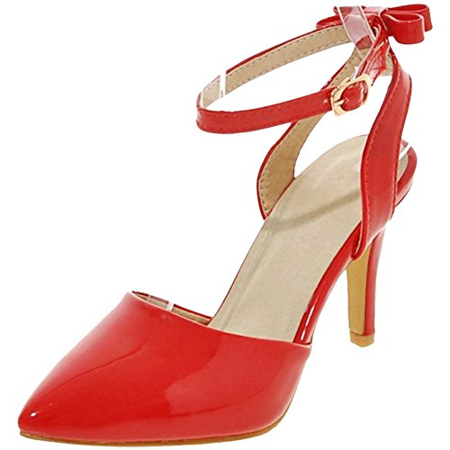 Red Femmes Talons Laniere Ferme Coolcept Bout Sandales xYA4dAwq