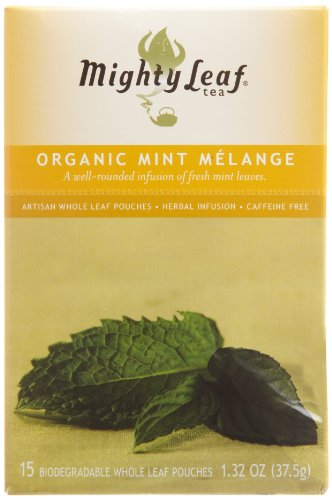 Mighty Leaf Organic Tea, Mint Melange, 15-Count Whole Leaf Pouches 1.32 Oz (Pack of 3) (Leaves Peppermint Tea Tea)