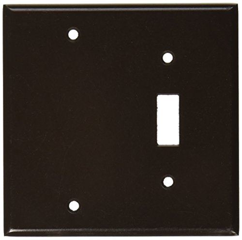 Leviton 85006 2-Gang 1-Toggle 1-Blank Device Combination Wallplate, Standard Size, Thermoset, Box Mount, Brown