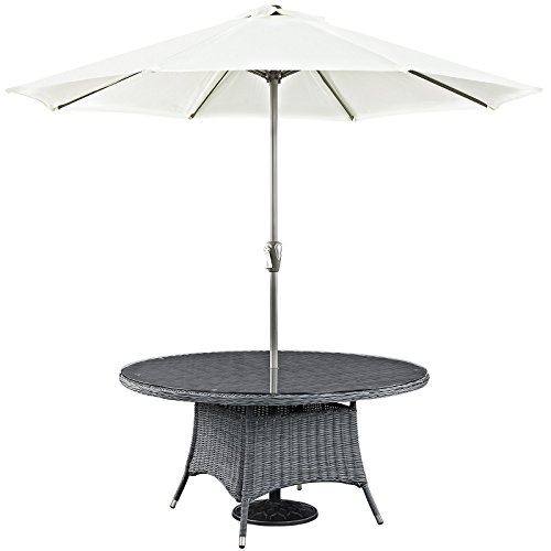 Modway Summon Round Outdoor Patio Glass Top Round Dining Table, 59″, Espresso