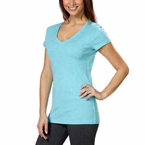Kirkland Signature Ladies Premium Pima Cotton V-Neck T-Shirts (Small, ICY Morning)