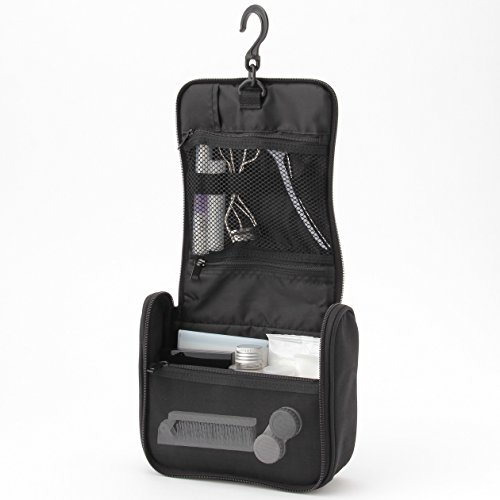(MoMa MUJI Polyester Hanging Toiletries Case, Black - 16 x 19 x 6 cm)