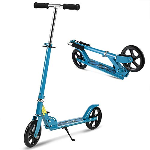 ANCHEER Adult Teen Kick Scooter Portable Foldable Height-Adjustable | Ultra-Lightweight Easy Fold-n-Carry 2 Big Wheels Commuter Scooter for Kids Age 13 Up | 200 lbs Weight Capacity (Upgrade-: (Lightweight Alloy Wheels)