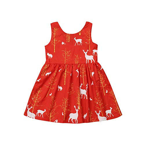 (Toddler Girl Christmas Dress Kids Princess Party Tutu Red Xmas Dresses Clothes 1-6 Years (5-6 Years,)