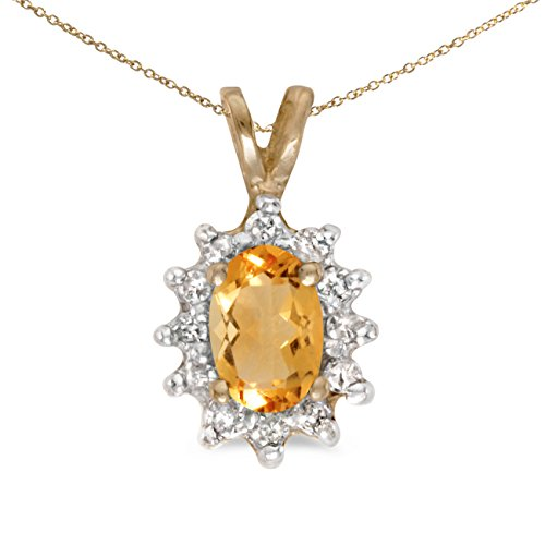 Oval Citrine Diamond Pendant - Jewels By Lux 10k Yellow Gold Genuine Birthstone Oval Citrine And Diamond Pendant (0.31 Cttw.)