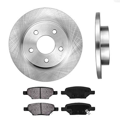 REAR 270 mm Premium OE 5 Lug [2] Brake Disc Rotors + [4] Metallic Brake Pads