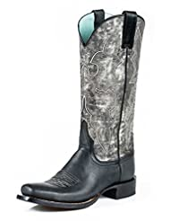 Stetson Western Boot Women Marbled Black Gray 12-021-8601-1012 BL