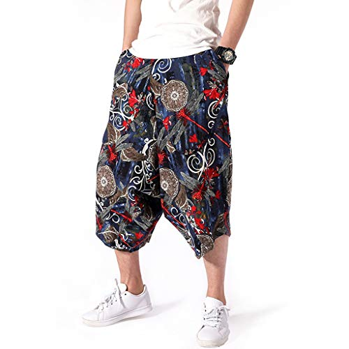 Harem Pants for Men Forthery Mens Wide Crotch Harem Cotton Linen Wide-legged Bloomers Baggy Cropped Trousers(Black,M=US 27)