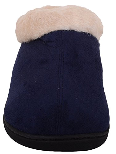 Ladies / Womens Slip On Slippers / Mules / Indoor Shoes with Warm Faux Fur Inners Navy 2cTQpX