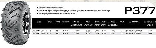 2 ATV/UTV Tires 25x10-12 25x10x12 Rear 6PR by MILLION PARTS (Image #1)