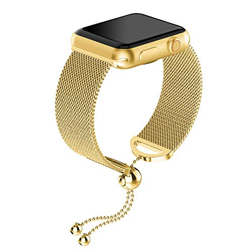 HighlifeS for Apple Watch Band 44mm/40mm Women, Adjustable Stainless Steel Cuff Bracelet Strap Bangle for Feminine Girls Compatible for Apple Watch Series 4 (Gold, 40mm)
