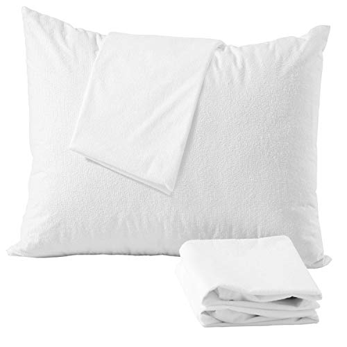 4Pack Waterproof Pillow Protectors Anti Allergy Standard 20 x 26 inches Zippered Terry Cotton ❤️Life Time Replacement❤️White Hypoallergenic Breathable Membrane Absorbent Premium Encasement Covers]()