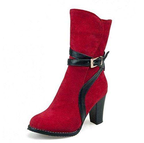 Ceinture 40 Talon 39 Mi À Taille Talons Courtes Chaussures RED 48 Côté Grande Bottes Bottes Femmes Brillants Boucle De Martin Rétro Dames BOTXV Zipper q8H06w