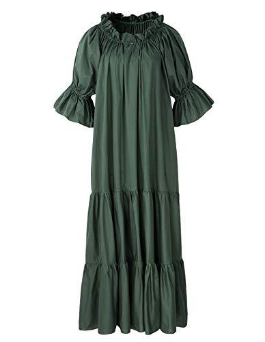 - Renaissance Medieval Dress Costume Classic Chemise Ruffled Tiered Peasant Sleeve (Regular, Green)