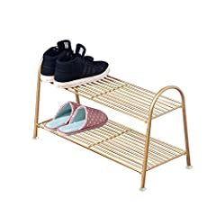 PandS Free Standing Gold Shoe Rack  Stylish shoe rack. Great for entryways and laundry rooPS  Organize  Organize your shoes, boots or bags. Keep them well organized and easy to find   Materials   Made of Steel. Super strong and will holds man...