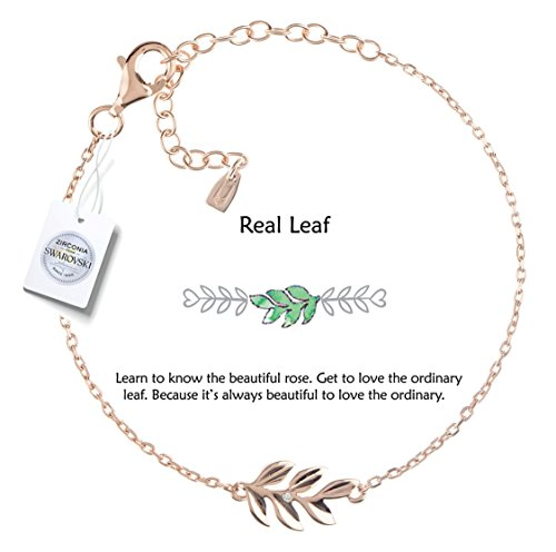 Vivid&Keith Womens Girls 925 Real Sterling Silver 18K Plated Swarovski Zirconia Cute Adjustable Gift Fashion Jewelry Link Chain Charm Pendant Bangle Bracelet, Leaf, Rose Gold Plated