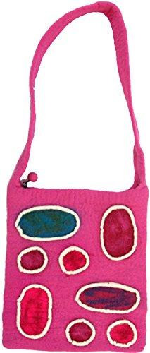 Guru-Shop Filztasche `Patchwork`, Herren/Damen, Rosa, Wolle, Size:One Size, 35x30x3 cm, Handtasche, Einkaufstasche, Schultertasche Handarbeit