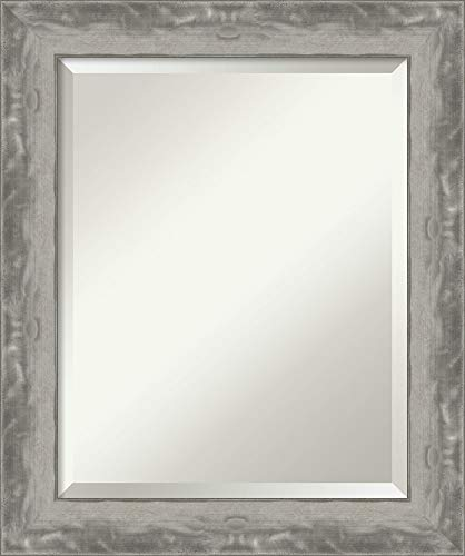 Framed Vanity Mirror | Bathroom Mirrors for Wall | Waveline Silver Narrow -