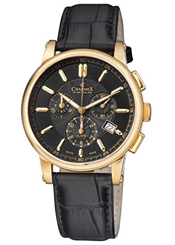 Chronograph Rose Gold Plated - Charmex of Switzerland Kyalami Luxury Men's Watch   41mm Swiss Made Alarm Chronograph   Black Genuine Leather Strap   Water Resistant   Rose Gold-plated Stainless Steel Case 2061