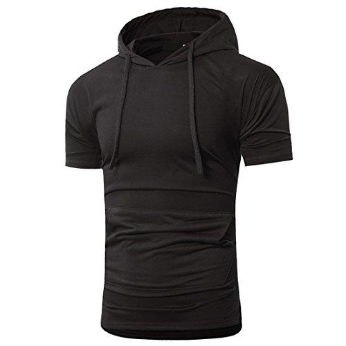 moichien corta Camisetas bolsillo Manga con Negro capucha Sudadera Ai con Camisas Hombre Deportes XO4Xdx