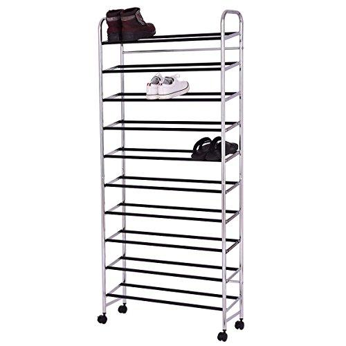 10-Tier 50 Pairs Rolling Shoe Rack Tower Storage Organizer Free Standing W/Wheel