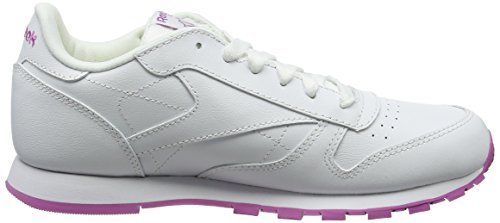 Classic Blanco White Pink lurex Leather Reebok De Unisex Niños Frenzy Running Para Zapatillas CSwqdTZf