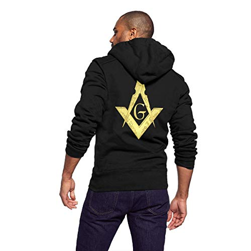 Sportswear Full Zip Up Club Fleece Hoodie Midweight Zip Front Hooded Sweatshirt Jacket for Men Man - Cool Gold Freemason Graffiti -