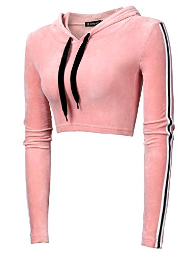 Allegra K Women's Long Sleeve Stripe Pullover Velvet Crop Top Sweatshirt Hoodie Pink L ()