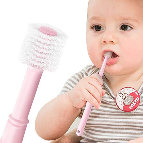Toddler Toothbrush, 360 All Direction Baby Manual Toothbrush, Soft Bristles Massage Gums, for 3 month and up (Pink)