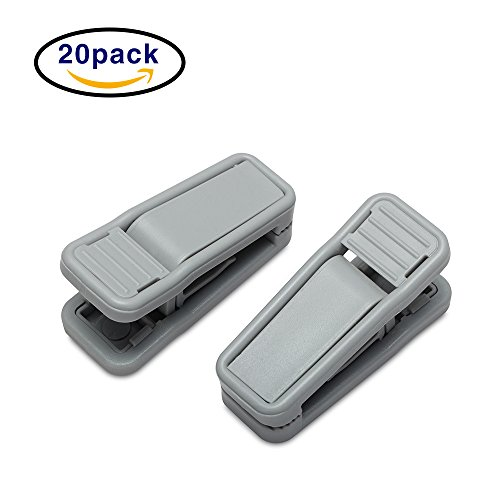 house day grey plastic finger clips for hangers, 20 pack pants hanger clips, strong pinch grip clips for use with slim-line clothes hangers, clips for velvet hangers