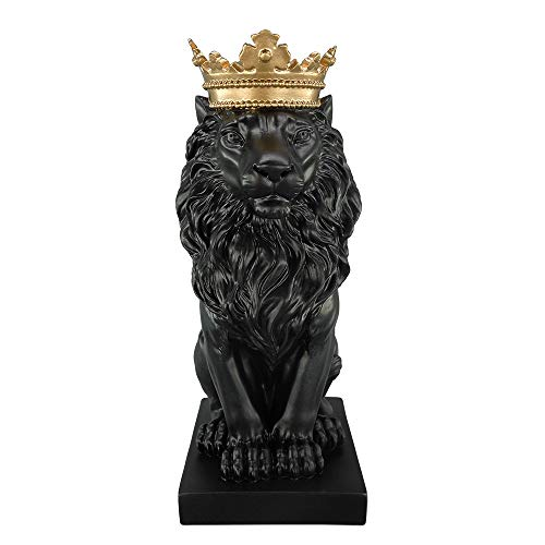 - Artgenius 7.3IN Royal King Crown Lion Statue Figurine Decorations (Black)
