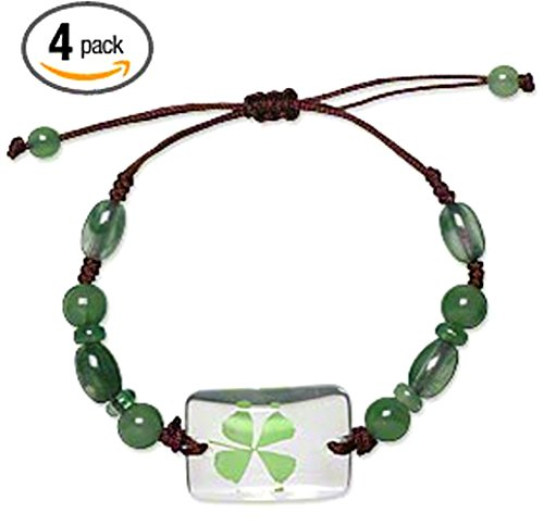 Real Four Leaf Clover Green Shamrock Bracelets Good Luck St Patrick's Day Jewelry - Set Of 4