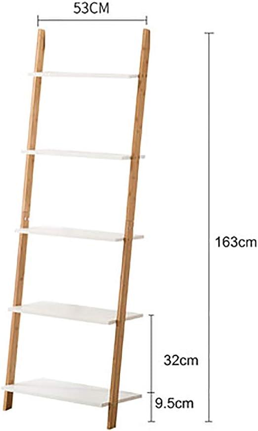 MShelf Blanco Escalera Estantería, Bambú Almacenamiento Estante Unidad Piso Pie Pared Soporte De La Flor Rack para Sala De Estar, Dormitorio-f 5 Nivel: Amazon.es: Hogar