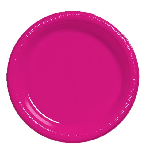 Creative Converting Touch of Color 20 Count Plastic Banquet Plates, Hot Magenta