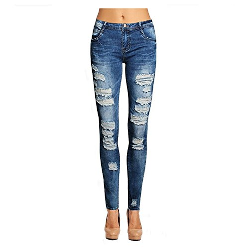 NASKY Women's Juniors Ripped Jeans Slim Fit Stretchy Skinny Jeans Holes Pants Casual Stylish