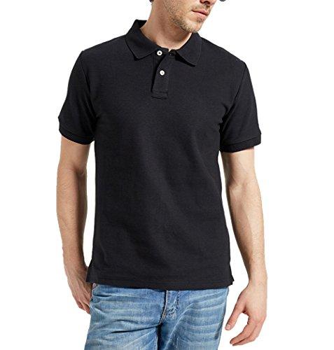 AMUOUZI Men's Casual 100% Cotton Solid Short Sleeve Pique Polo Shirt