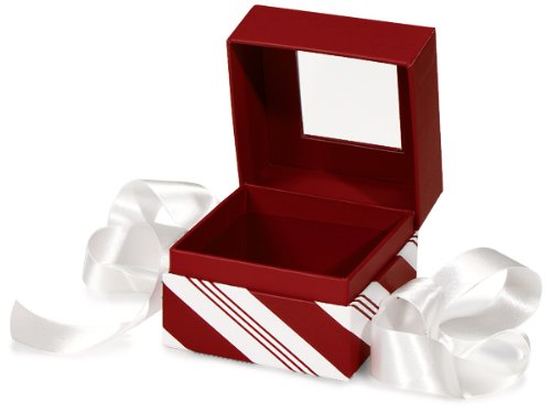 (BULK Peppermint Stripe PETITE BoxSQUARE Box w/ Ribbon 3-3/4x3-3/4x3