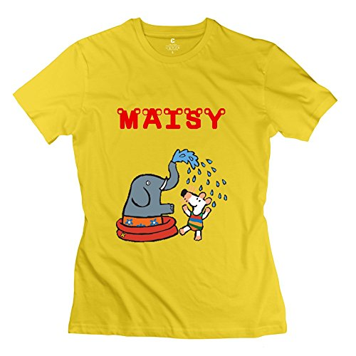 Hoxsin Women's Maisy Humor O-Neck T Shirt Yellow US Size S