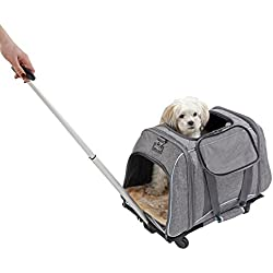 "Petsfit 23""Lx13W""x14H"" Pet Carrier with Removeable Wheels, Soft Sided Dog Carrier For Pet up to 22 Pounds, Not Fit Under Airline Seat"