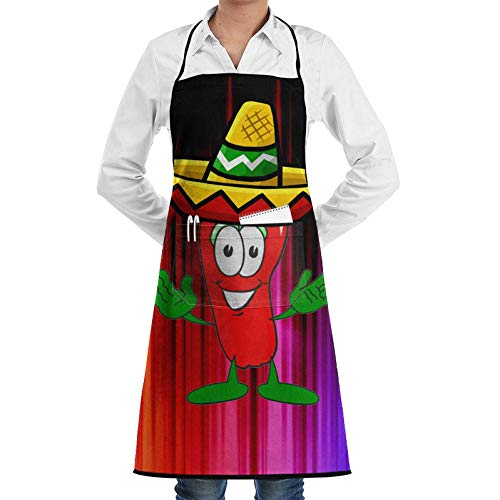 (Adjustable Bib Apron with Pockets, Women Men Bib Apron with Design, Funny Mexican Chili Pepper Men Women Cooking Kitchen Bib Aprons 2 Pockets)