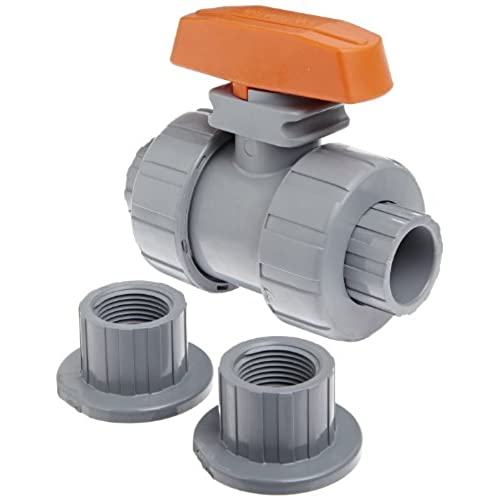 "Top Hayward TB2075STE Series TB True Union Ball Valve, Socket/Threaded End, CPVC with EPDM Seals, 3/4"" Size"