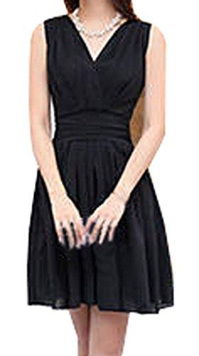LOVARU Women's Fashion Crossover Deep V Neck Dress